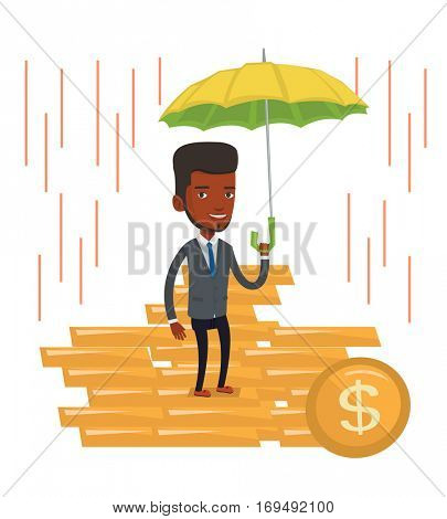 African businessman insurance agent. Insurance agent holding umbrella over gold coins. Business insurance and business protection concept. Vector flat design illustration isolated on white background.