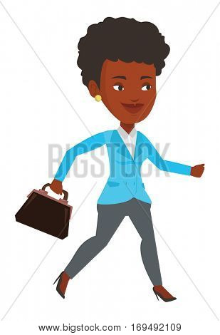 African-american businesswoman with briefcase in hand running. Businesswoman running in a hurry. Cheerful businesswoman running forward. Vector flat design illustration isolated on white background.
