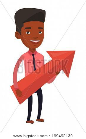Businessman thinking about a strategy of business growth. Businessman holding arrow representing business growth. Business growth concept. Vector flat design illustration isolated on white background.
