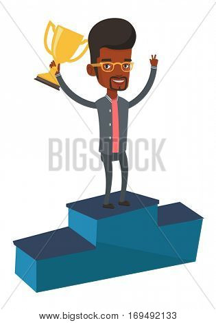 An african businessman with business award standing on a pedestal. Businessman celebrating his business award. Business award concept. Vector flat design illustration isolated on white background.