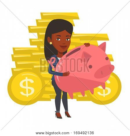 African-american business woman with a piggy bank. Business woman holding a big piggy bank. Business woman saving money in a piggy bank. Vector flat design illustration isolated on white background.