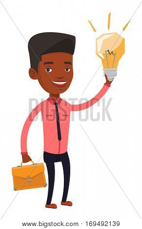African businessman with a briefcase pointing at business idea light bulb. Man having a business idea. Successful business idea concept. Vector flat design illustration isolated on white background.