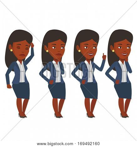 African-american businesswoman working on a new business plan. Young businesswoman during business planning. Business planning concept. Vector flat design illustration isolated on white background.