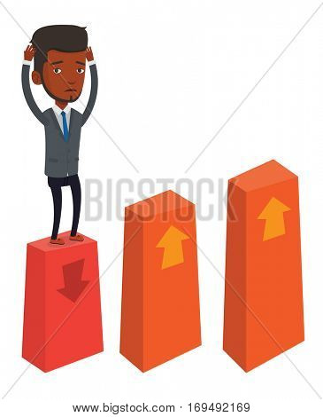African-american frightened bankrupt businessman clutching his head. Bankrupt standing on chart going down. Concept of business bankruptcy. Vector flat design illustration isolated on white background