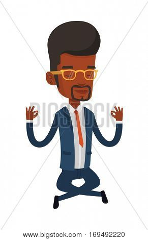 African-american businessman doing yoga in lotus pose. Businessman meditating in yoga lotus pose. Businessman sitting in yoga lotus pose. Vector flat design illustration isolated on white background.