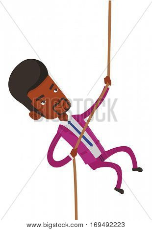 African-american business man climbing on the rock. Brave business man climbing on the mountain using rope. Concept of business challenge. Vector flat design illustration isolated on white background.