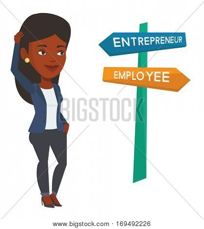 Woman standing at road sign with career pathways - entrepreneur and employee. Woman choosing career way. Woman making a decision of career. Vector flat design illustration isolated on white background