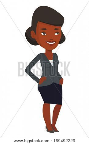 African-american successful businessman. Young successful businessman standing with hands in pockets. Concept of successful business. Vector flat design illustration isolated on white background.