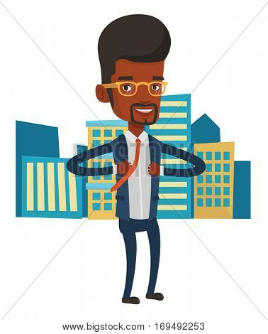 African-american businessman superhero. Businessman opening his jacket like superhero. Businessman taking off his jacket like superhero. Vector flat design illustration isolated on white background.