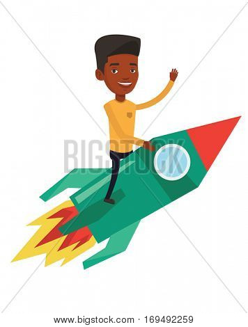 An african businessman on business start up rocket waving. Businessman flying on the business start up rocket. Business start up concept. Vector flat design illustration isolated on white background.