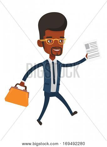 African-american businessman with briefcase and a document running. Smiling businessman running in a hurry. Businessman running forward. Vector flat design illustration isolated on white background.