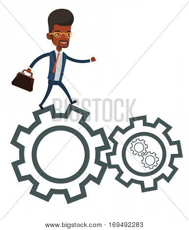 An african-american business man running on cogwheels. Young business man running to success. Business man running in a hurry to success. Vector flat design illustration isolated on white background.