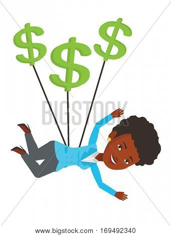 Business woman gliding in the sky with dollars. Business woman flying with dollar signs. Business woman using dollar signs as parachute. Vector flat design illustration isolated on white background.