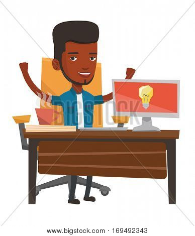 An african happy man having a business idea. Young businessman working on laptop on a new business idea. Successful business idea concept. Vector flat design illustration isolated on white background.