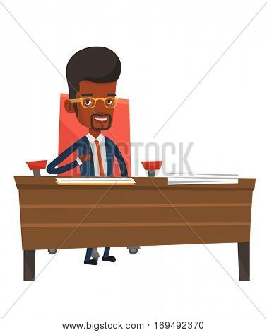 Businessman signing contract in office. Man is about to sign a business contract. Confirmation of transaction by signing of contract. Vector flat design illustration isolated on white background.