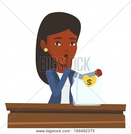 Bankrupt business woman looking at empty money box. Desperate bankrupt sitting at the table with empty money box. Bankruptcy concept. Vector flat design illustration isolated on white background.