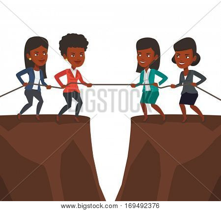 Two african business team pulling rope on cliff. Competition between two teams of business people. Concept of competition in business. Vector flat design illustration isolated on white background.