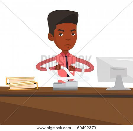 An african-american business man sitting in office and tearing furiously bills. Young angry business man calculating bills. Vector flat design illustration isolated on white background.