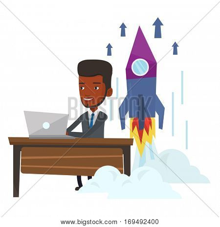 Young african businessman working on business start up and business start up rocket taking off behind him. Business start up concept. Vector flat design illustration isolated on white background.