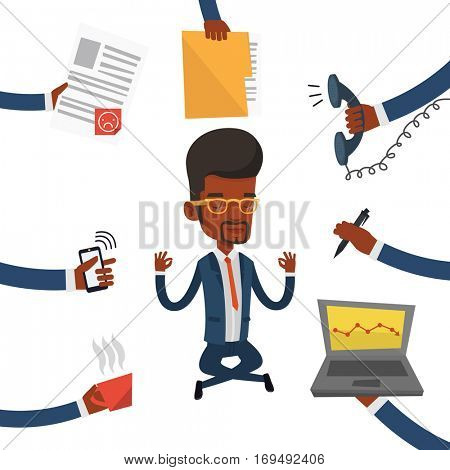 An african hard working business man. Young business man surrounded by many hands that give him a lot of work. Concept of hard working. Vector flat design illustration isolated on white background.