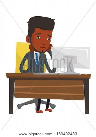 African-american exhausted employee sitting at workplace in front of computer. Overworked tired employee working with head propped on hand. Vector flat design illustration isolated on white background
