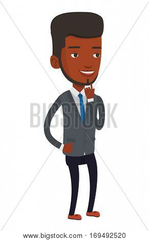 African-american businessman thinking about new creative business idea. Young businessman having business idea. Business idea concept. Vector flat design illustration isolated on white background.
