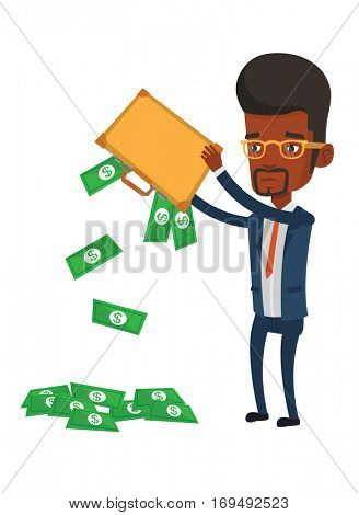 Africand epressed bankrupt shaking out money from his briefcase. Despaired bankrupt businessman emptying a briefcase. Bankruptcy concept. Vector flat design illustration isolated on white background