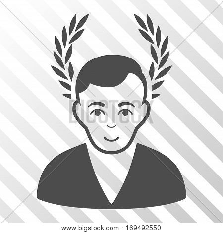 Gray Man Glory interface icon. Vector pictogram style is a flat symbol on diagonally hatched transparent background.