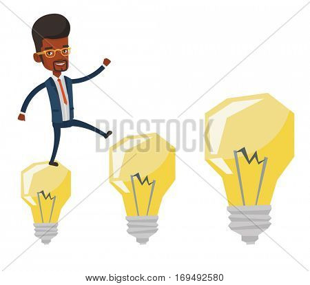 African-american businessman jumping on idea bulbs. Smiling businessman in a suit hopping onto idea bulbs. Concept of business idea. Vector flat design illustration isolated on white background.