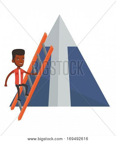 Businessman climbing the ladder. Businessman climbing on mountain with arrow going up. Businessman climbing upward on the top of mountain. Vector flat design illustration isolated on white background.