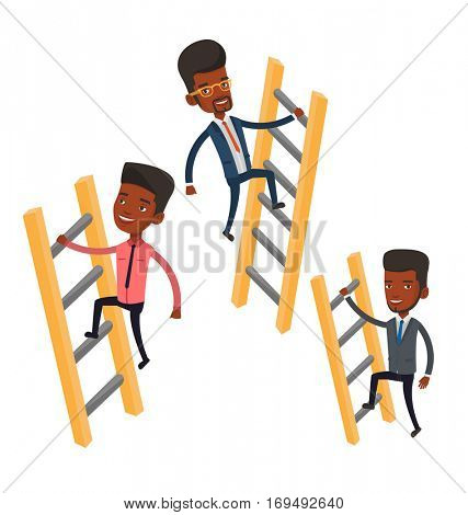 African-american business people climbing the ladders. Businessmen climbing to success. Concept of success and competition in business. Vector flat design illustration isolated on white background.