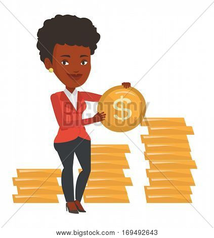African successful businesswoman with dollar golden coin in hands. Successful businesswoman holding golden coin. Business success concept. Vector flat design illustration isolated on white background.