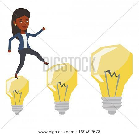 African-american business woman jumping on idea bulbs. Smiling business woman in a suit hopping onto idea bulbs. Concept of business idea. Vector flat design illustration isolated on white background.