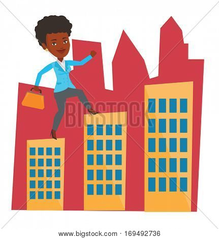 Business woman walking on the roofs of city buildings. Woman walking on the roofs of skyscrapers. Business woman walking to the success. Vector flat design illustration isolated on white background.