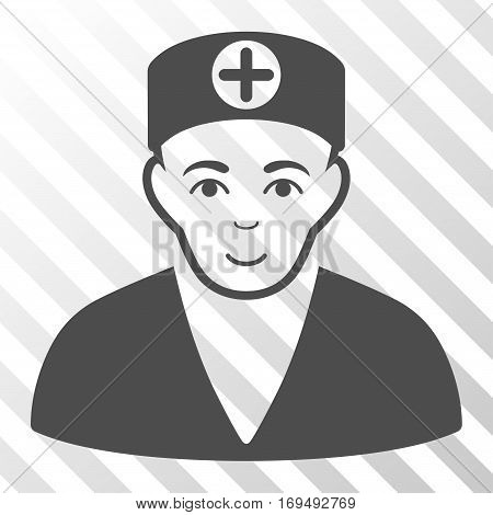 Gray Medic interface pictogram. Vector pictogram style is a flat symbol on diagonally hatched transparent background.