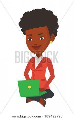 African-american businesswoman sitting with laptop on knees. Young smiling businesswoman working on a laptop. Business technology concept. Vector flat design illustration isolated on white background.