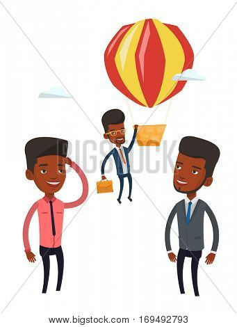 Young smiling african employee flying away in a balloon. Hardworking employee hanging on a hot air balloon. Happy employee got promoted. Vector flat design illustration isolated on white background.