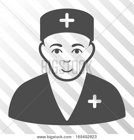 Gray Medic toolbar pictogram. Vector pictograph style is a flat symbol on diagonal hatch transparent background.