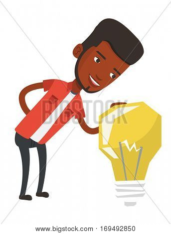 African-american businessman having business idea. Young business man looking at the bright idea light bulb. Business idea concept. Vector flat design illustration isolated on white background.