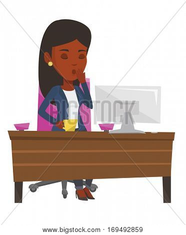 Tired employee yawning while working in office. Exhausted african employee yawning. Sleepy employee drinking coffee at work in office. Vector flat design illustration isolated on white background.