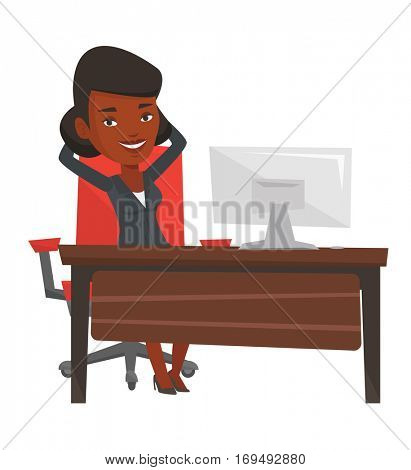 Satisfied businesswoman sitting at workplace in the office. Happy businesswoman relaxing in the office with her hands clasped behind head. Vector flat design illustration isolated on white background.