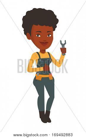 African-american repairman standing with a spanner in hand. Confident repairman giving thumb up. Young happy repairman holding a spanner. Vector flat design illustration isolated on white background.