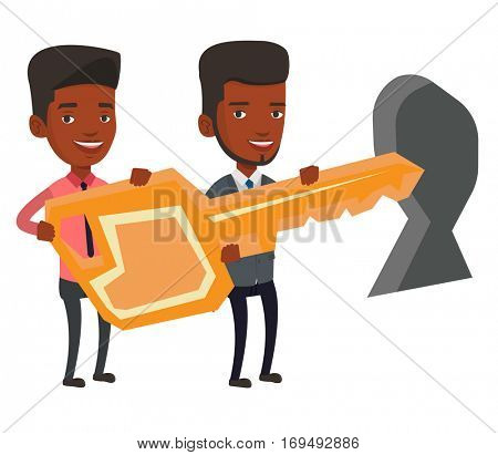 Businessmen standing in front of a keyhole with big key. Business team holding the key to success. Two businessmen carrying huge gold key. Vector flat design illustration isolated on white background.
