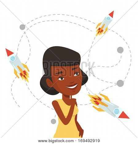African-american woman looking at flying business rockets. Woman came up with an idea for a business startup. Business startup concept. Vector flat design illustration isolated on white background.