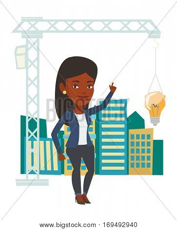 African woman pointing at idea light bulb hanging on crane. Architect having idea in town planning. Concept of new ideas in architecture. Vector flat design illustration isolated on white background.