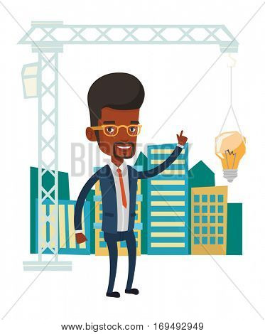 African-american man pointing at idea bulb hanging on crane. Architect having idea in town planning. Concept of new ideas in architecture. Vector flat design illustration isolated on white background.