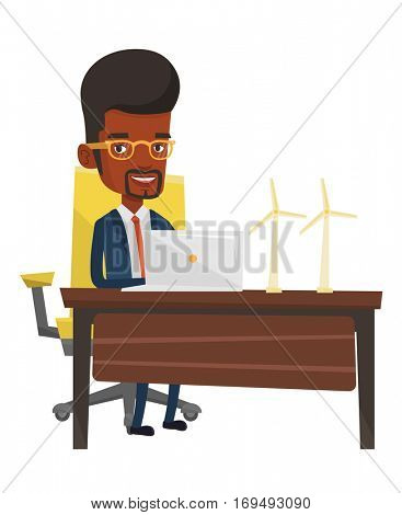 An african-american worker of wind farm working on a laptop. Engineer projecting wind turbine. Smiling worker with model of wind turbine. Vector flat design illustration isolated on white background.