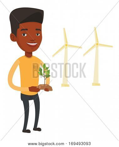 An african worker of wind farm. Man holding in hands green small plant in soil on the background of wind turbines. Green energy concept. Vector flat design illustration isolated on white background.