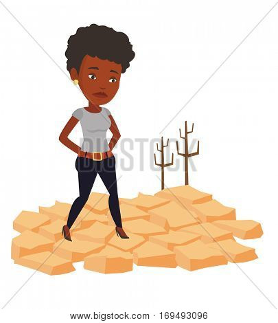 Sad woman standing in the desert. Frustrated woman standing on cracked earth in the desert. Concept of climate change and global warming. Vector flat design illustration isolated on white background.