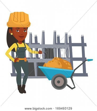 African female builder with thumb up standing near wheelbarrow. Builder in hard hat giving thumb up. Builder at work on construction site. Vector flat design illustration isolated on white background.